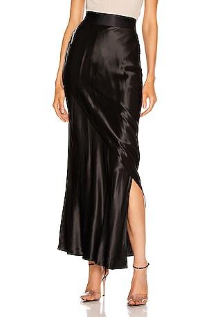 Liquid Satin Layered Column Skirt