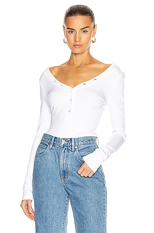 Snap Deep V Long Sleeve Shirt