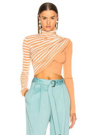 Jenn Wrap Crop Turtleneck Sweater