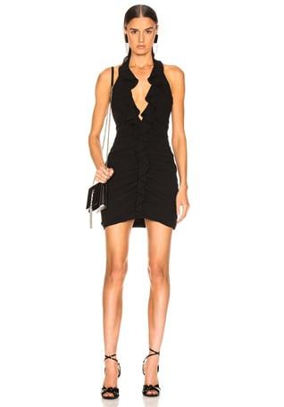 Ruffle V Neck Mini Dress