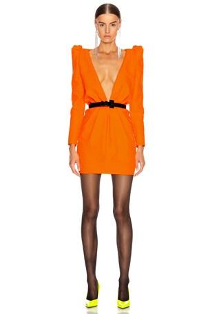 Deep V Neck Long Sleeve Mini Dress