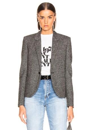 Tweed One Button Blazer