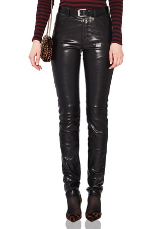 Mid Rise Leather Pants