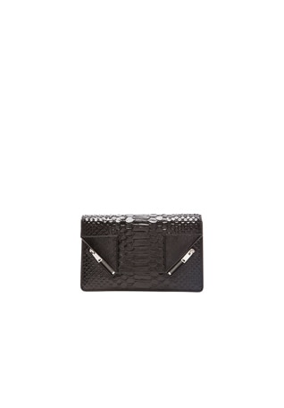 Embossed Python & Patent Betty Clutch