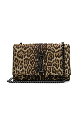Small Leopard Print Lurex Monogramme Kate Chain Bag