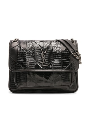 Medium Leather & Snakeskin Patchwork Monogramme Niki Chain Bag