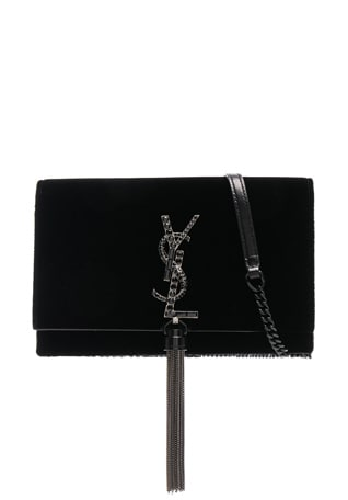 Crystal Logo Velvet Kate Tassel Chain Wallet
