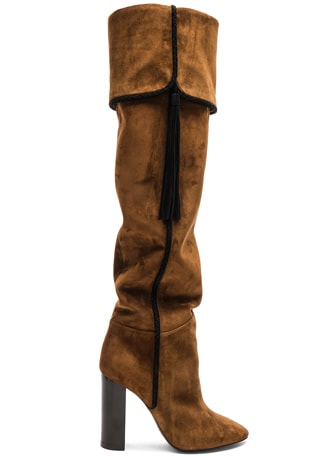 Suede Meurice Tassel Slouchy Boots