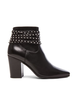 Studded Strap Leather French Boots