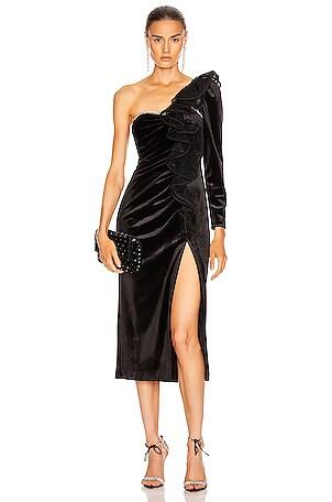 Velvet Ruffle Midi Dress