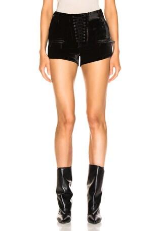 Velvet Lace Up Shorts