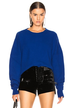 Rib Oversize Chopped Crew Sweater