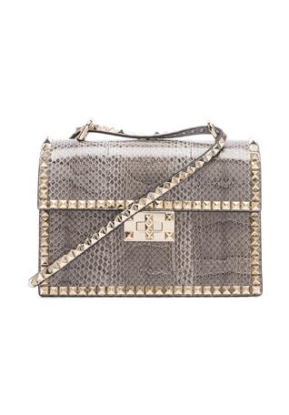 Small Snakeskin Rockstud No Limit Shoulder Bag