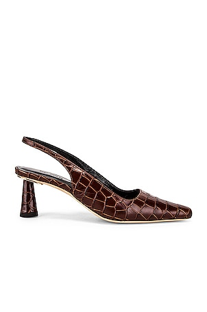 Diana Nutella Croco Embossed Leather Heel