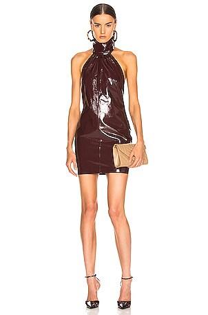 Mini Patent Leather Halter Dress