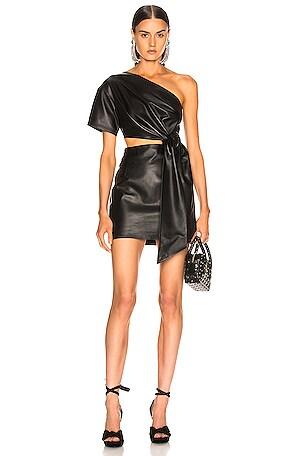 One Shoulder Mini Leather Dress