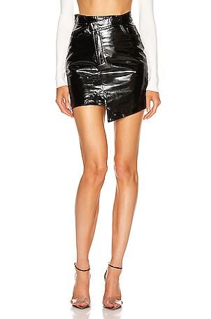 Asymmetric Mini Patent Leather Skirt