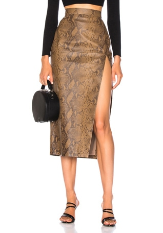 for FWRD Snake Skin Print Leather Midi Skirt
