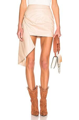 Asymmetric Mini Leather Skirt