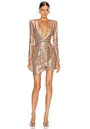 Sequin Plunging Mini Dress