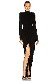 Ruched Long Sleeve Gown