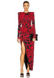 Giraffe Ruched Maxi Dress