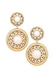 Gold Circle Pearl Earrings