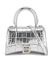 XS Embossed Croc Hourglass Top Handle Bag
