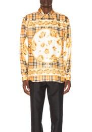 Paneled Scarf Print Silk Shirt
