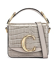 Mini C Embossed Croc Box Bag