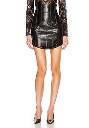 Corset High Waist Leather Skirt