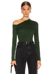 Angled Exposed Shoulder Long Sleeve Top