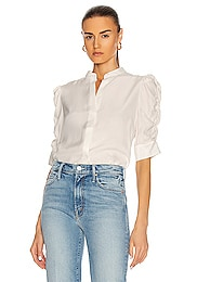 Shirred Sleeve Button Up Top