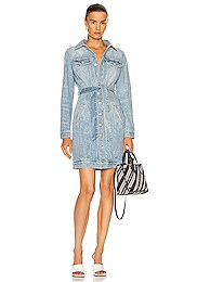 Belted Denim Mini Dart Dress