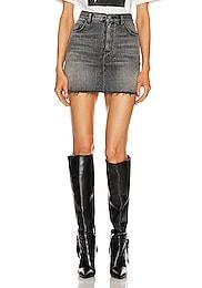 Classic Destroyed Denim Skirt