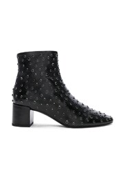 Loulou Crystal Studded Leather Ankle Boots