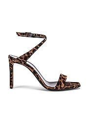 Leopard Bea Bow Ankle Strap Sandals