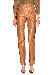 High Waisted Cigarette Leather Pant